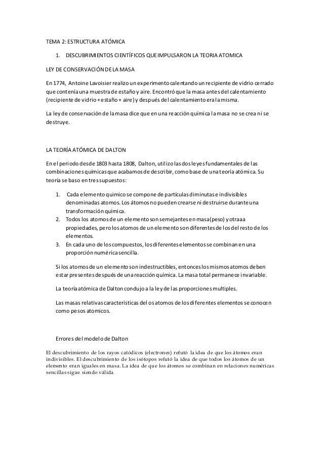 TEMA 2: ESTRUCTURA ATÓMICA  1. DESCUBRIMIENTOS CIENTÍFICOS QUE IMPULSARON LA TEORIA ATOMICA  LEY DE CONSERVACIÓN DE LA MAS...