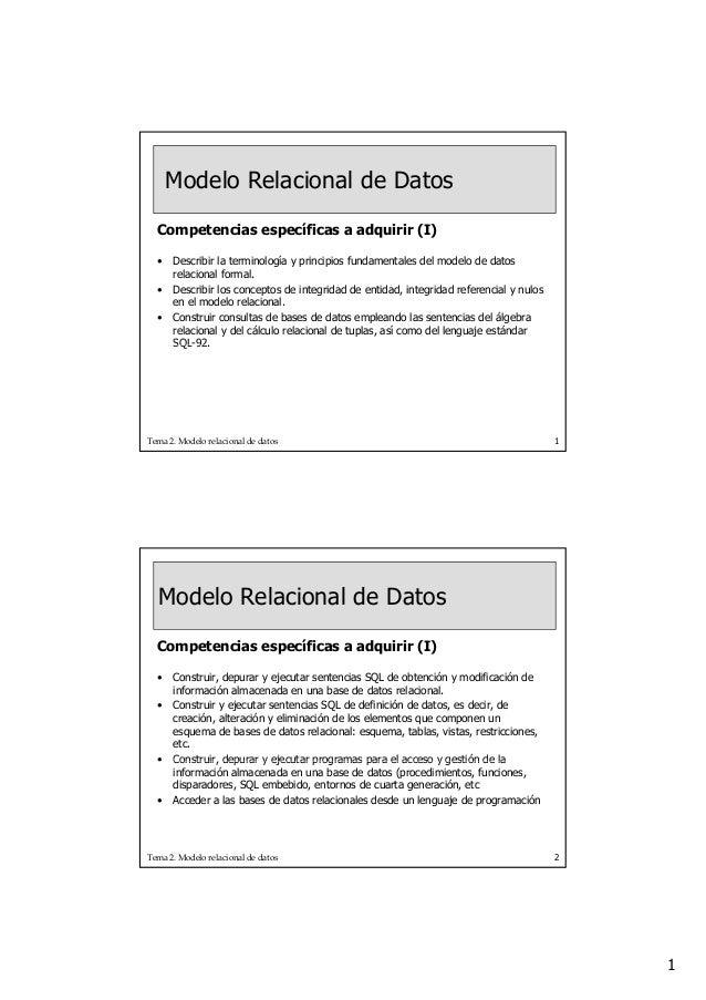 1 Modelo Relacional de Datos Competencias específicas a adquirir (I) • Describir la terminología y principios fundamentale...