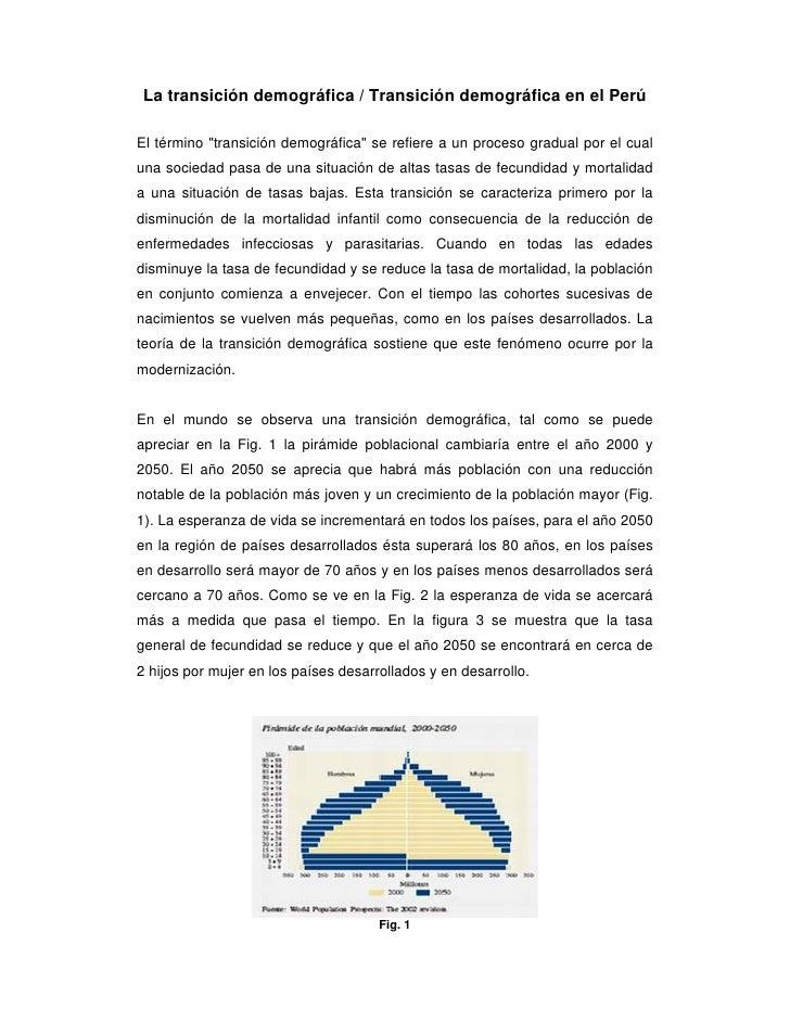 """La transición demográfica / Transición demográfica en el Perú  El término """"transición demográfica"""" se refiere a un proceso..."""