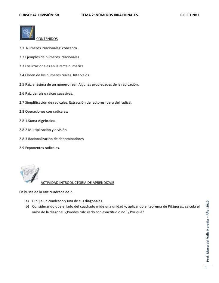 Tema 2- NÚMEROS IRRACIONALES 4º