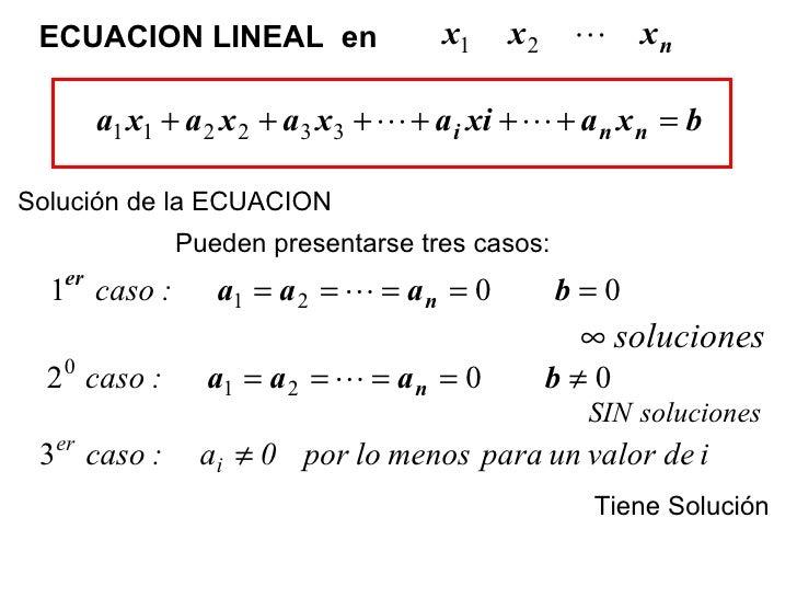 ECUACION LINEAL  en  Solución de la ECUACION  Pueden presentarse tres casos:   Tiene Solución