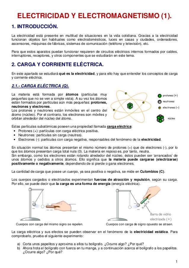 ELECTRICIDAD Y ELECTROMAGNETISMO (1).1. INTRODUCCIÓN.La electricidad está presente en multitud de situaciones en la vida c...