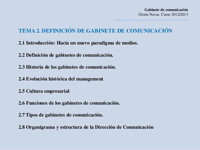 Gabinete de comunicación                                                                        Gloria Navas. Curso 2012/2...