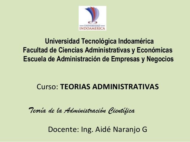 Universidad Tecnológica Indoamérica Facultad de Ciencias Administrativas y Económicas Escuela de Administración de Empresa...