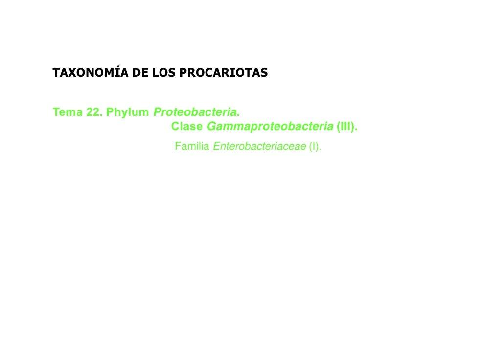 TAXONOMÍA DE LOS PROCARIOTASTema 22. Phylum Proteobacteria.                   Clase Gammaproteobacteria (III).            ...