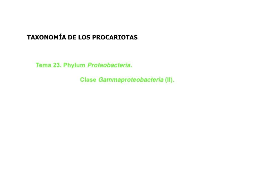 TAXONOMÍA DE LOS PROCARIOTAS  Tema 23. Phylum Proteobacteria.                Clase Gammaproteobacteria (II).