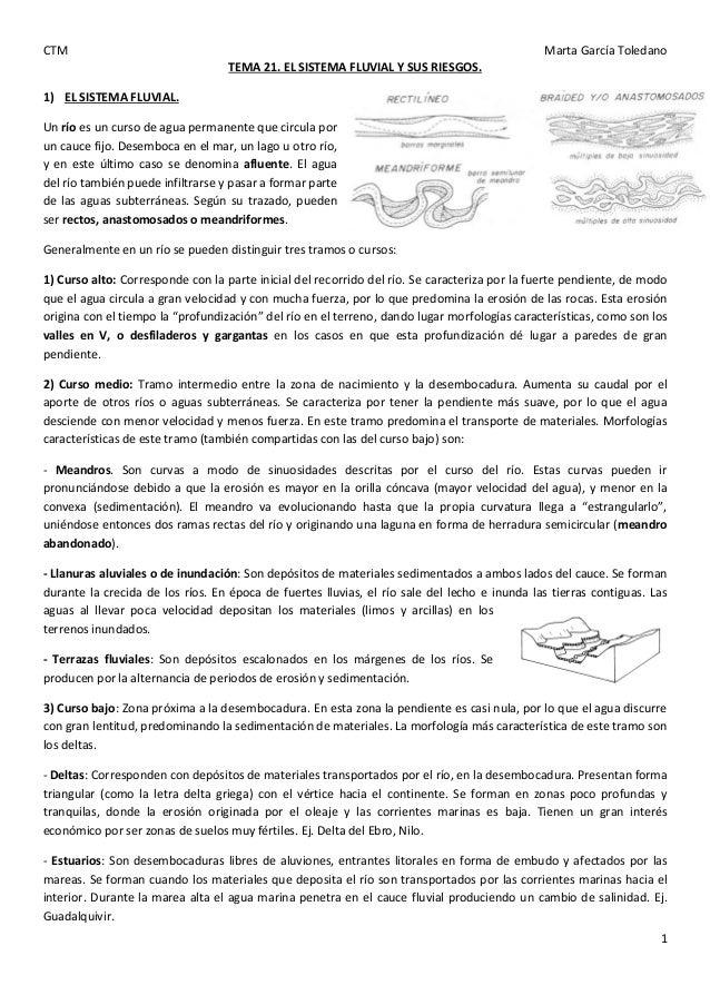 CTM Marta García Toledano 1 TEMA 21. EL SISTEMA FLUVIAL Y SUS RIESGOS. 1) EL SISTEMA FLUVIAL. Un río es un curso de agua p...