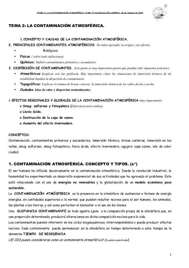 óTEMA 2: LA CONTAMINACIÓN ATMOSFÉRICA. CTMA 2º bachillerato IES LLERENA..30 de January de 2015 TEMA 2: LA CONTAMINACIÓN AT...
