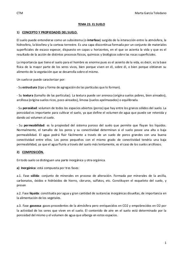 CTM Marta García Toledano 1 TEMA 23. EL SUELO 1) CONCEPTO Y PROPIEDADES DEL SUELO. El suelo puede entenderse como un subsi...
