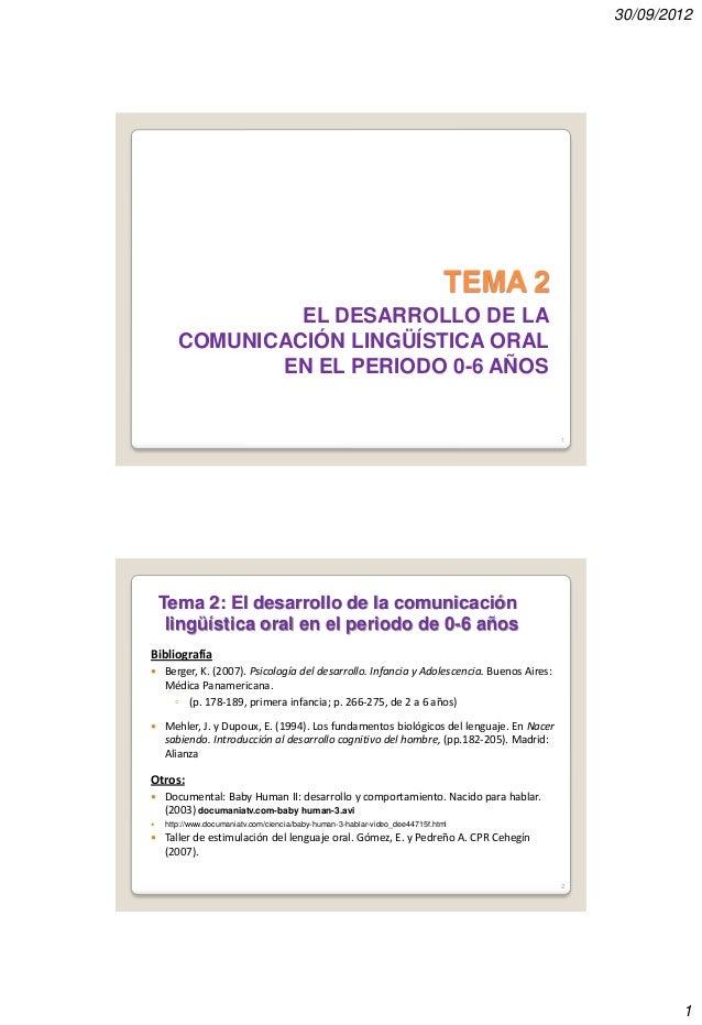 30/09/2012  TEMA 2 EL DESARROLLO DE LA COMUNICACIÓN LINGÜÍSTICA ORAL EN EL PERIODO 0-6 AÑOS  1  Tema 2: El desarrollo de l...