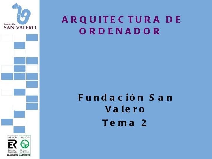 ARQUITECTURA DE ORDENADOR Fundación San Valero Tema 2