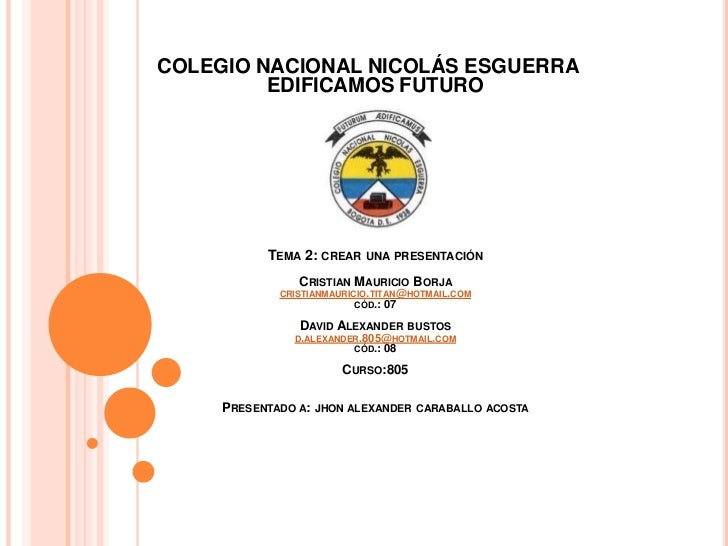 COLEGIO NACIONAL NICOLÁS ESGUERRA         EDIFICAMOS FUTURO           TEMA 2: CREAR    UNA PRESENTACIÓN                CRI...