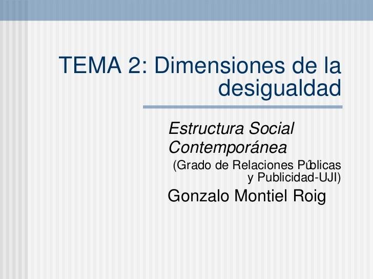 TEMA 2: Dimensiones de la desigualdad Estructura Social Contempor ánea (Grado de Relaciones P úblicas y Publicidad-UJI) Go...