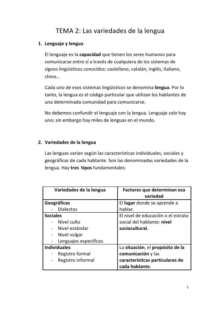 Tema 2 : Las variedades de la lengua (I)