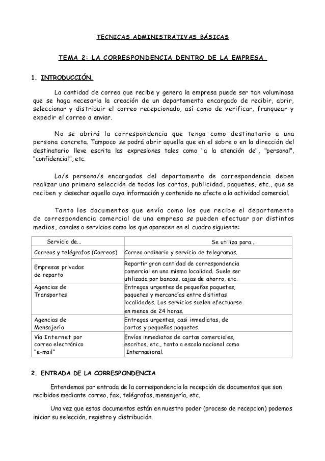 TECNICAS ADMI NI ST RATIVAS BÁSI CAS  TEMA 2: LA CORRESPONDENCIA DENTRO DE LA EMPRESA 1. INTRODUCCIÓN. La cantidad de corr...