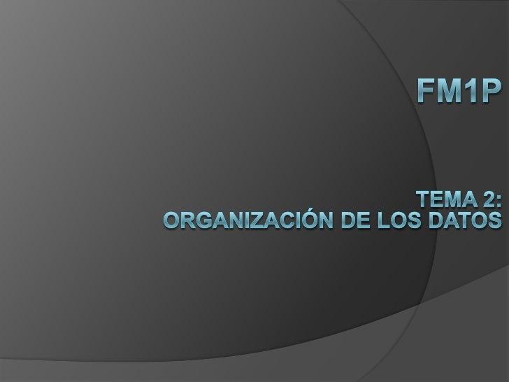 FM1P<br />Tema 2:<br />Organización de los datos<br />