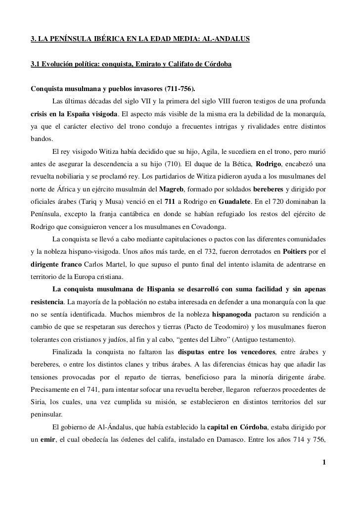 3. LA PENÍNSULA IBÉRICA EN LA EDAD MEDIA: AL-ANDALUS3.1 Evolución política: conquista, Emirato y Califato de CórdobaConqui...