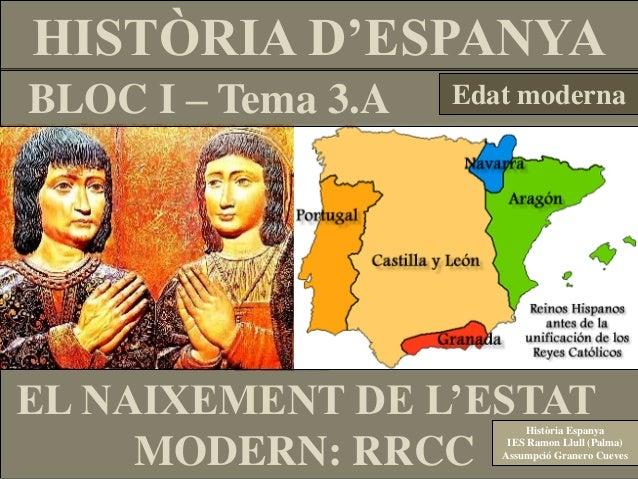 HISTÒRIA D'ESPANYA BLOC I – Tema 3.A  Edat moderna  EL NAIXEMENT DE L'ESTAT MODERN: RRCC  Història Espanya IES Ramon Llull...
