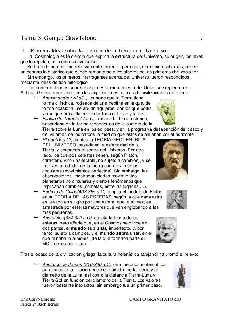 Tema 3: Campo Gravitatorio                                                                       .   La Cosmología es la c...