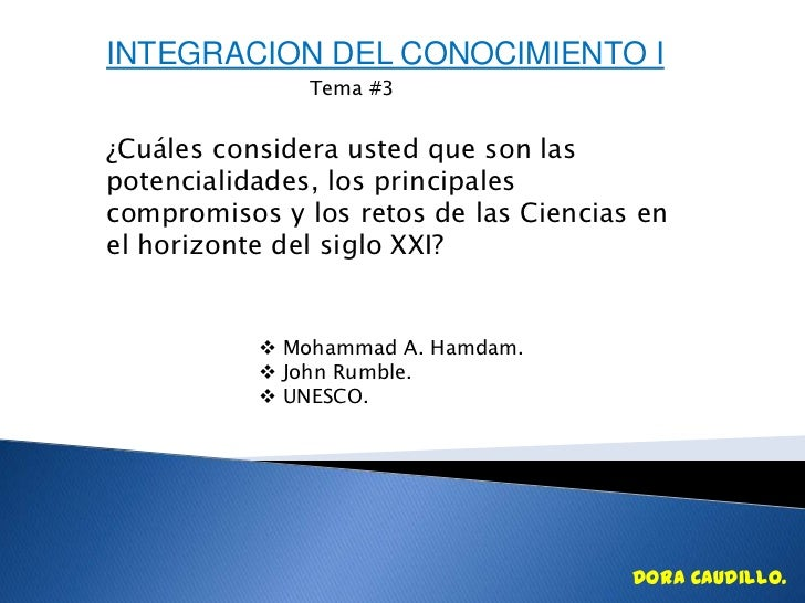 INTEGRACION DEL CONOCIMIENTO I               Tema #3¿Cuáles considera usted que son laspotencialidades, los principalescom...