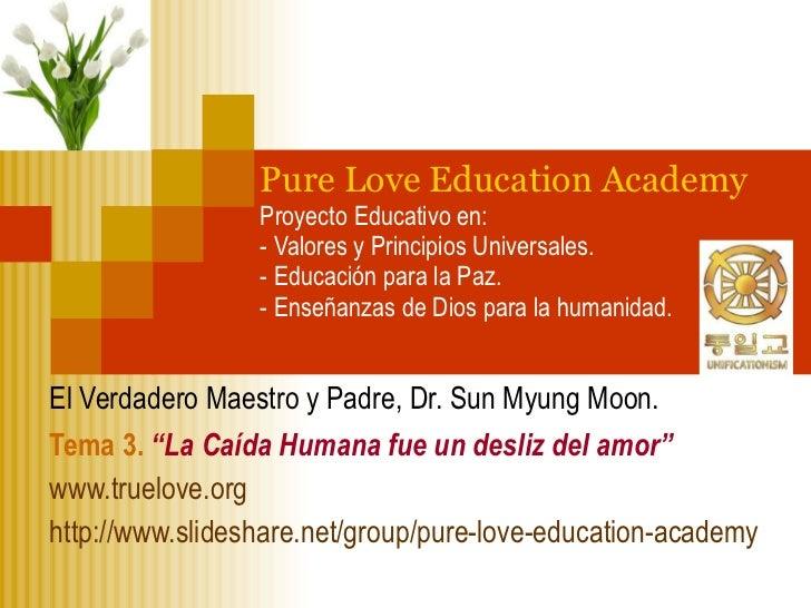 Pure Love Education Academy Proyecto Educativo en:  - Valores y Principios Universales. - Educación para la Paz. - Enseñan...