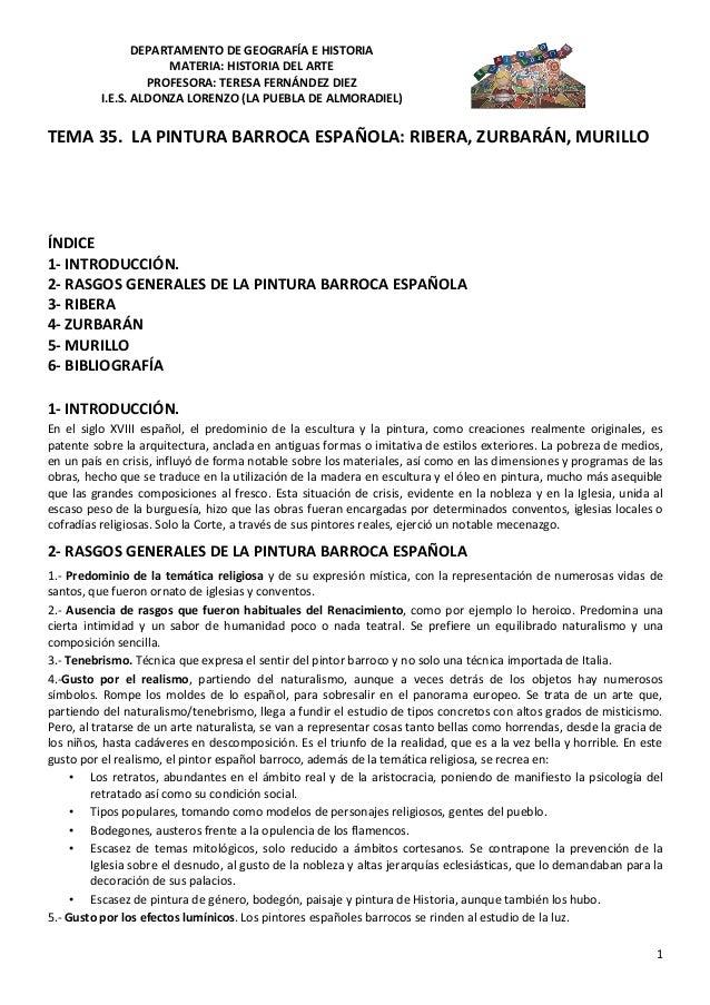 DEPARTAMENTO DE GEOGRAFÍA E HISTORIA                      MATERIA: HISTORIA DEL ARTE                   PROFESORA: TERESA F...