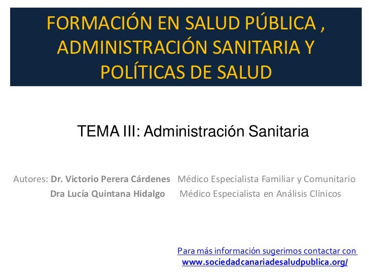 Administración sanitaria, tema 3 del curso de fomación en Salud Pública