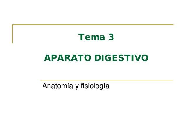 Tema 3 APARATO DIGESTIVO Anatomía y fisiología
