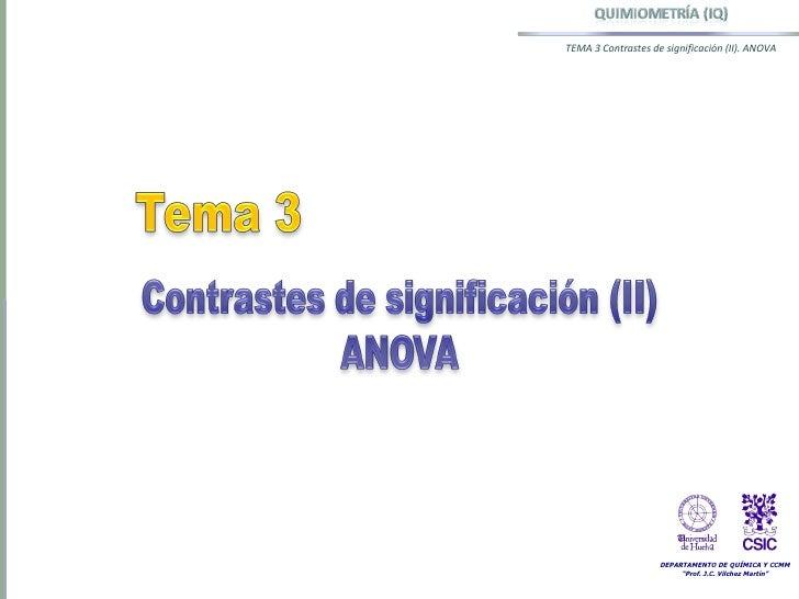 Tema 3 Contrastes de SignificacióN (II) Anova