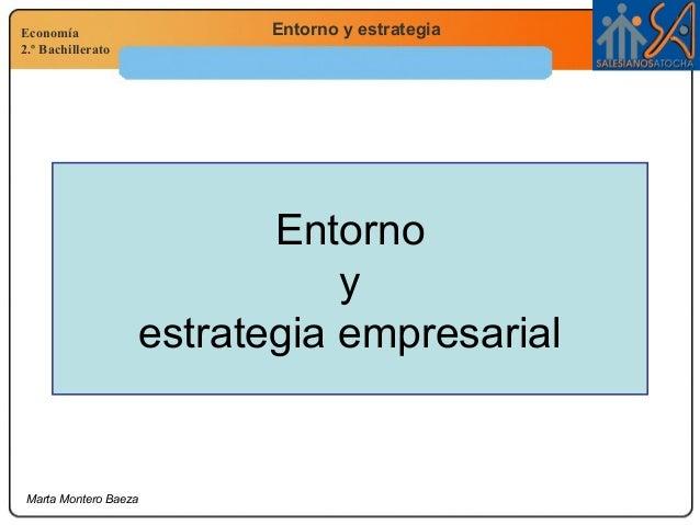 Economía 2.º Bachillerato Entorno y estrategia Marta Montero Baeza Entorno y estrategia empresarial