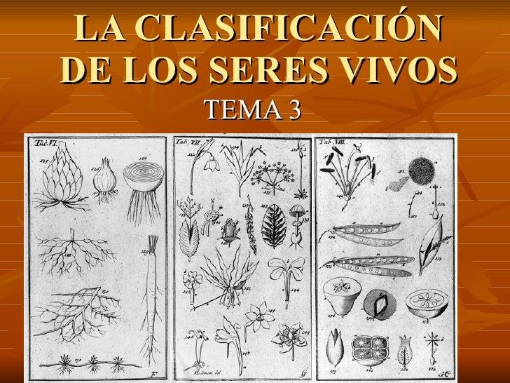 LA CLASIFICACIÓN DE LOS SERES VIVOS TEMA 3