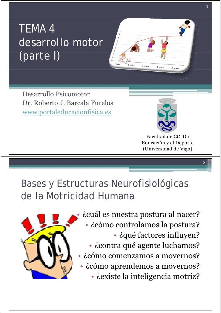 1    TEMA 4 desarrollo motor (parte ( t I)   Desarrollo Psicomotor Dr. Dr Roberto J. Barcala Furelos             J www.por...