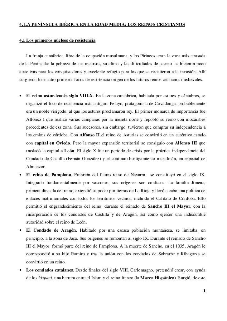 4. LA PENÍNSULA IBÉRICA EN LA EDAD MEDIA: LOS REINOS CRISTIANOS4.1 Los primeros núcleos de resistencia    La franja cantáb...