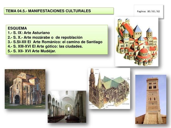 PagIinas   80 / 81 / 82<br />TEMA 04.5.- MANIFESTACIONES CULTURALES<br />ESQUEMA<br />1.- S. IX: Arte Asturiano<br />2.- S...
