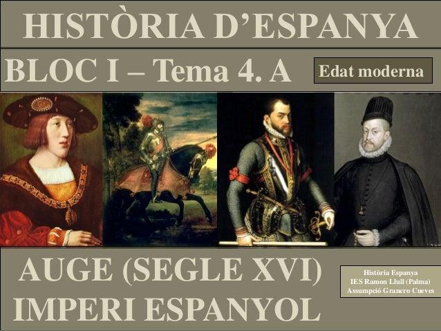HISTÒRIA D'ESPANYABLOC I – Tema 4. A   Edat modernaAUGE (SEGLE XVI)            Història Espanya                         IE...