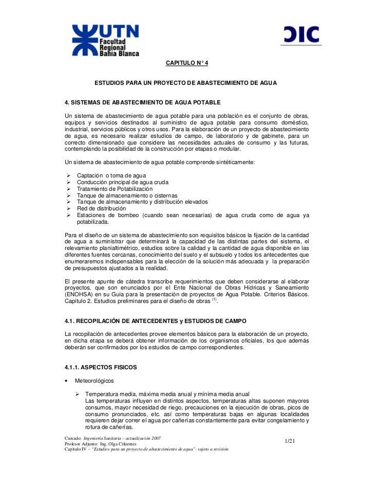 CAPITULO N° 4               ESTUDIOS PARA UN PROYECTO DE ABASTECIMIENTO DE AGUA4. SISTEMAS DE ABASTECIMIENTO DE AGUA POTAB...