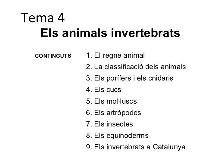 Tema 4 Els animals invertebrats CONTINGUTS <ul><li>El regne animal </li></ul><ul><li>La classificació dels animals </li></...