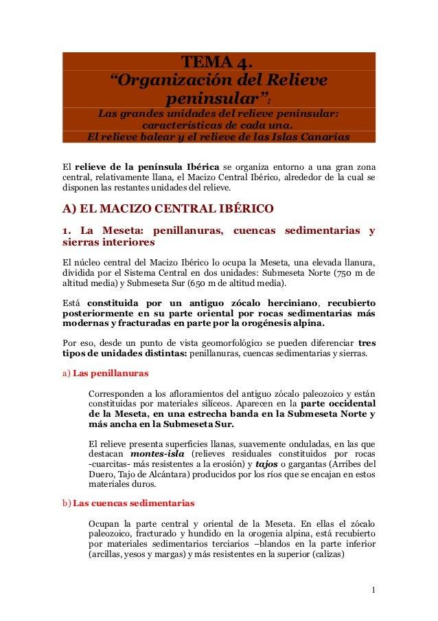 Tema 4. organización del relieve peninsular   notas de apoyo GEOGRAFIA 2º BACHILLERATO