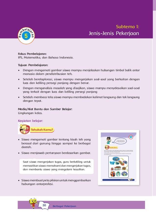 Tema 4 Berbagai Pekerjaan 1 Kurikulum 2013 Bse Kelas 4 Sd