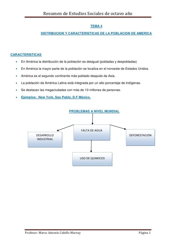 Resumen de Estudios Sociales de octavo año                                                      TEMA 4                   D...