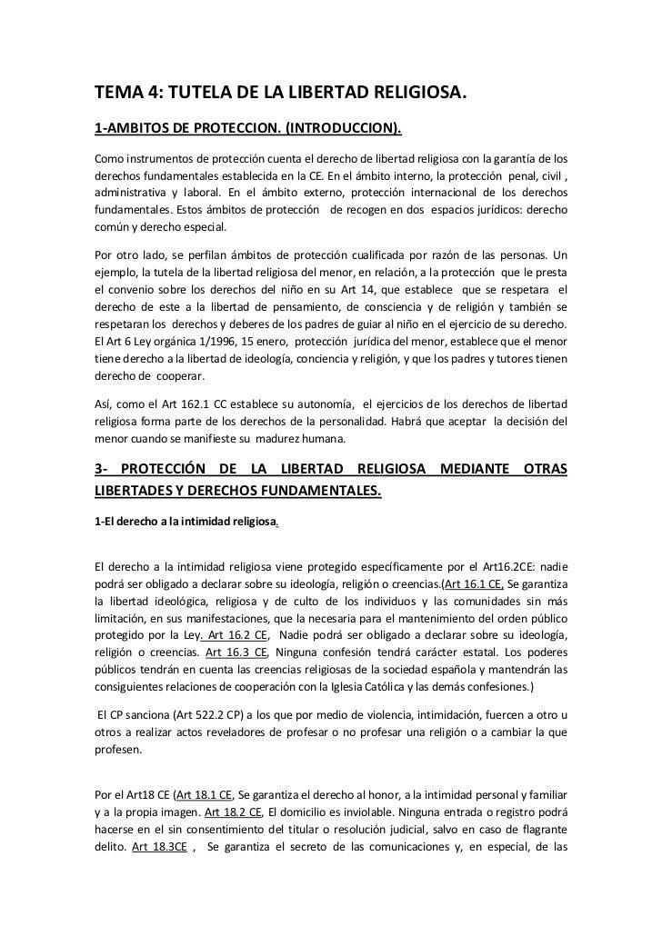 TEMA 4: TUTELA DE LA LIBERTAD RELIGIOSA.1-AMBITOS DE PROTECCION. (INTRODUCCION).Como instrumentos de protección cuenta el ...