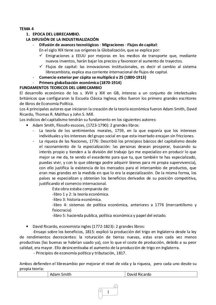 TEMA 4    1. EPOCA DEL LIBRECAMBIO.    LA DIFUSIÓN DE LA INDUSTRIALIZACIÓN        - Difusión de avances tecnológicos · Mig...