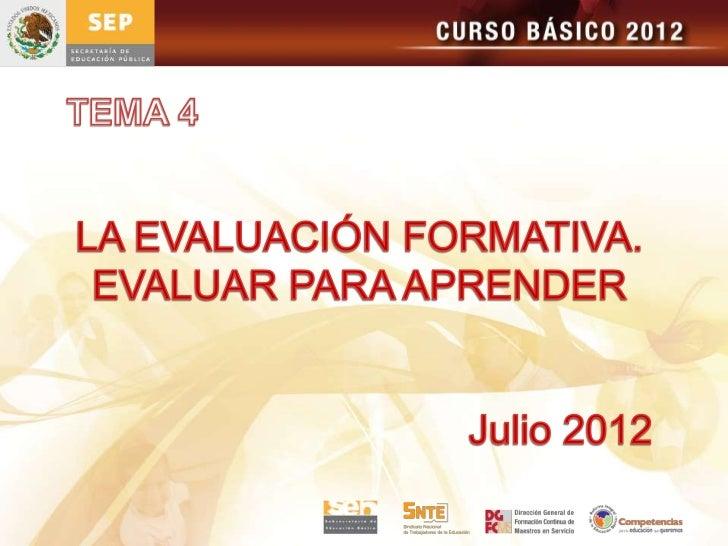 Tema 4 la evaluacion formativa, evaluar para aprender