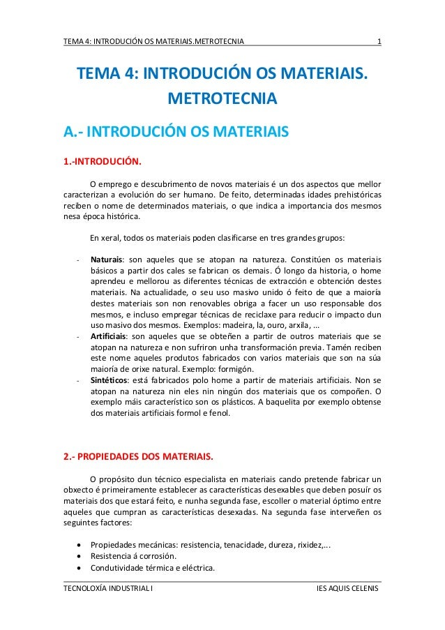 TEMA 4: INTRODUCIÓN OS MATERIAIS.METROTECNIA  1  TEMA 4: INTRODUCIÓN OS MATERIAIS. METROTECNIA A.- INTRODUCIÓN OS MATERIAI...