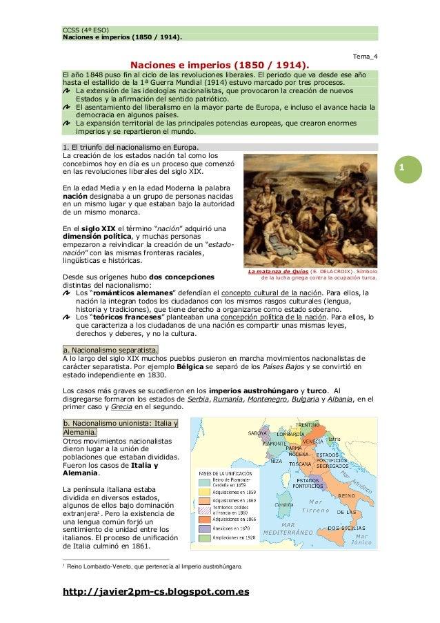CCSS (4º ESO) Naciones e imperios (1850 / 1914).  Naciones e imperios (1850 / 1914).  Tema_4  El año 1848 puso fin al cicl...