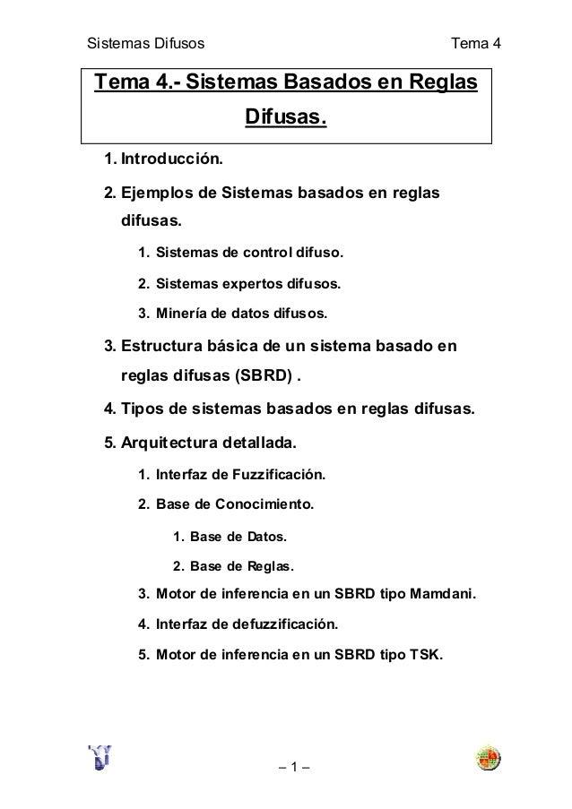 Sistemas Difusos Tema 4 – 1 – Tema 4.- Sistemas Basados en Reglas Difusas. 1. Introducción. 2. Ejemplos de Sistemas basado...