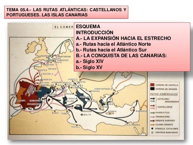 TEMA 05.4.- LAS RUTAS ATLÁNTICAS: CASTELLANOS YPORTUGUESES. LAS ISLAS CANARIAS                           ESQUEMA          ...