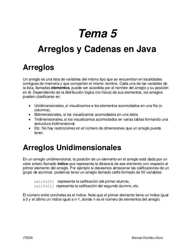 ITSON Manuel Domitsu Kono Tema 5 Arreglos y Cadenas en Java Arreglos Un arreglo es una lista de variables del mismo tipo q...
