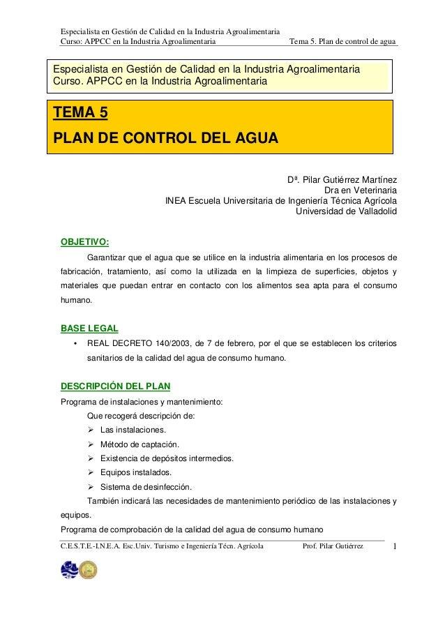 Especialista en Gestión de Calidad en la Industria Agroalimentaria Curso: APPCC en la Industria Agroalimentaria           ...