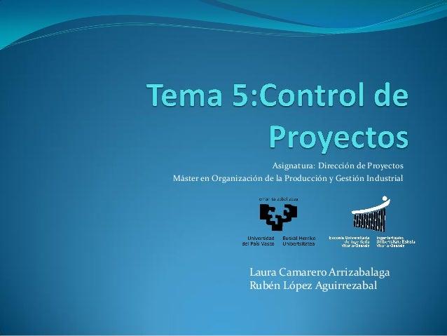 Asignatura: Dirección de Proyectos Máster en Organización de la Producción y Gestión Industrial  Laura Camarero Arrizabala...